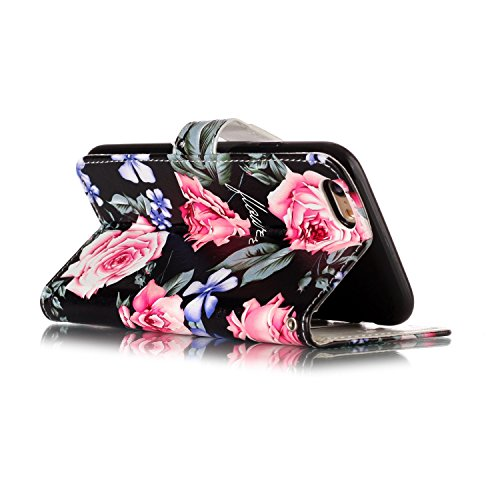 Strap Leather Case for iPhone 6S,Wallet Stand Flip Case for iPhone 6,Herzzer Bookstyle Stylish Pretty 3D Flower Flamingo Pattern Magnetic PU Leather with Soft Silicone Inner Back Case for iPhone 6/6S flower pink