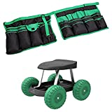 Bundle Includes 2 Items - Garden Cart Rolling Scooter with Seat and Tool Tray for Weeding, Gardening, and Outdoor Lawn Care- For Adults and Kids by Pure Garden and Apollo Tools DT08