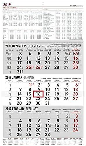3 Monatskalender Gross 2019 Wandplaner Burokalender 30 X 49