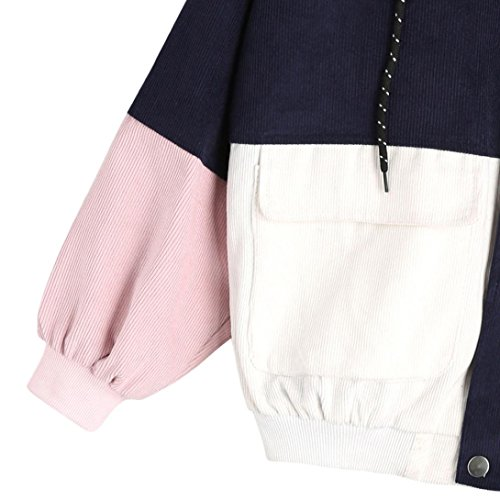 Windbreaker Overcoat Sport Fit Couple Outwear Jacket Patchwork Oversized Corduroy Hooded and Zipper Wide Boys Unisex Girls Navy Teen Dinglong qT6wZZ