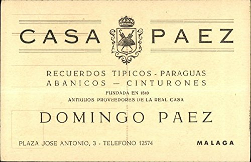 Casa Paez, Recuerdos Tipicos-Paraguas Abanicos-Cinturones Malaga, Spain Original Vintage Postcard at Amazons Entertainment Collectibles Store