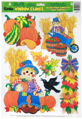 Eureka 846012 Harvest Scarecrows Clings