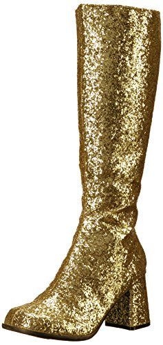 Women's 3 Inch Silver Thin Glitter Gogo Boot. with Zipper (Gold Glitter;13) ()