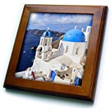 3dRose Danita Delimont - cities - Traditional Blue Roofed Churches and homes, Santorini. Greece. - 8x8 Framed Tile (ft_257656_1)