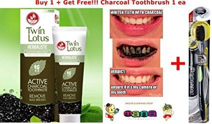 Twin Lotus Active Charcoal Toothpaste Herbaliste Triple Action 50g(net Wt. 1.8 Ounce) + Get Free Slim Soft 1 Bamboo Charcoal Toothbrush (Toothbrush Action Triple Soft)