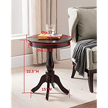 Kings Brand Furniture Cherry Finish Wood Round Pedestal Side Accent Table