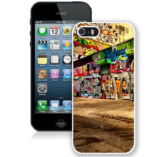 Coque,Fashion Coque iphone 5S Colorful Graffiti City Alley Street Art blanc Screen Cover Case Cover Fashion and Hot Sale Design