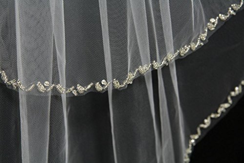 """ASA Two-tier Elbow Wedding Veils With Gold Beads Edge Length 31"""""""
