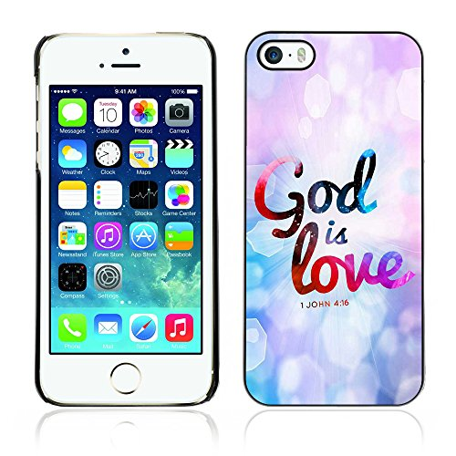 DREAMCASE Citation de Bible Coque de Protection Image Rigide Etui solide Housse T¨¦l¨¦phone Case Pour APPLE IPHONE 5 / 5S - JOHN 4:16 GOD IS LOVE