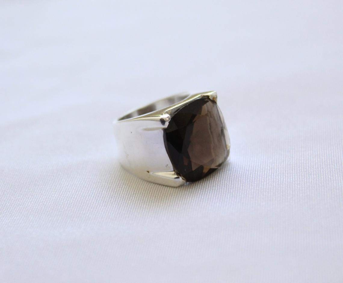 Mistry Gems Statement Ring Gold Vermeil Oxidised Silver Ring Women Brown Gemstone R186SQ Boho Engagement Facetted Smoky Quartz Ring