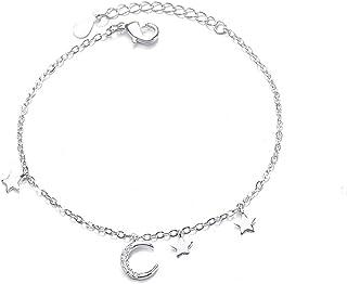 iTemer Braccialetto a Sospensione Regolabile con Bracciale a Forma di Luna e Stelle per Donna e Bambina, Lunghezza 15 + 3,5 cm
