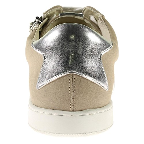 Steve Madden Womens Stealthh Metallic Rits Detail Mode Sneakers Taupe