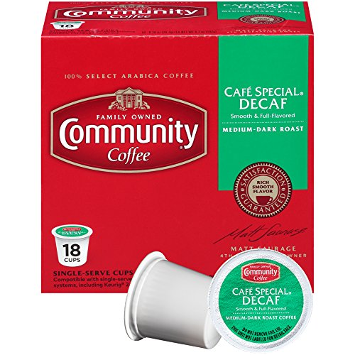 Community Coffee Café Special Decaf, Medium-Dark Roast, 18 Count Single Serve Coffee Pods, Compatible with Keurig K-Cup Brewers