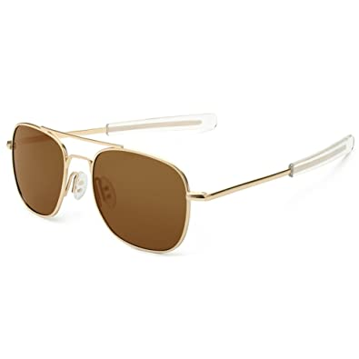 8f348129c5 WELUK Men s Pilot Aviator Sunglasses Polarized 55mm Military Style with  Bayonet Temples (Gold Brown