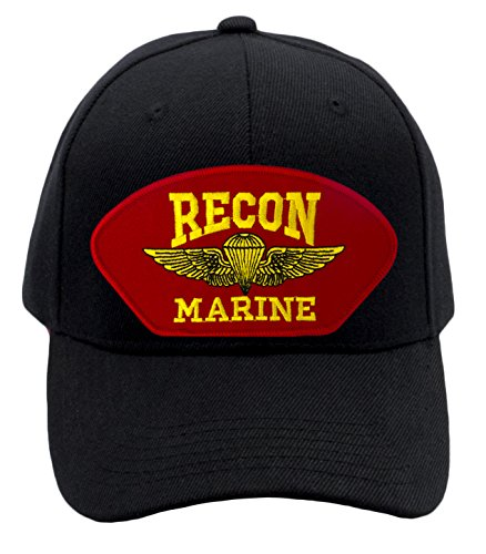 Marine Recon Cap (Patchtown USMC - Recon Marine Hat/Ballcap (Black) Adjustable One Size Fits Most)