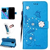 Samsung S5 Case, Galaxy S5 Case, ISADENSER Fashion Embossing Butterfly Flowers PU Leather Case With Purse Credit Card Slots Wrist Strap for Samsung Galaxy S5 - Diamond Ants Dating Blue