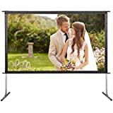 Yaheetech Indoor Outdoor Projector Screen w/Stand 120'' Portable Movie Screen 16:9 Home Cinema Theater Presentation Education Public Display Projector Screen with Bag