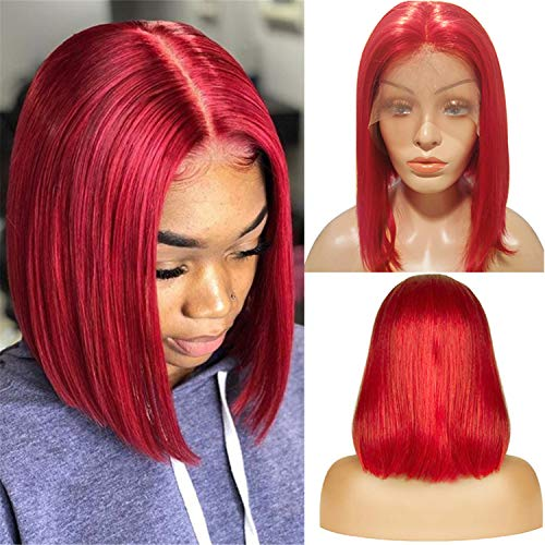 Short Lace Wigs 8inch Silky Straight Bob Wigs for Black Women 150% Density Lace Front Wigs Human Hair with Pre Plucked Natural Hairline Red Color