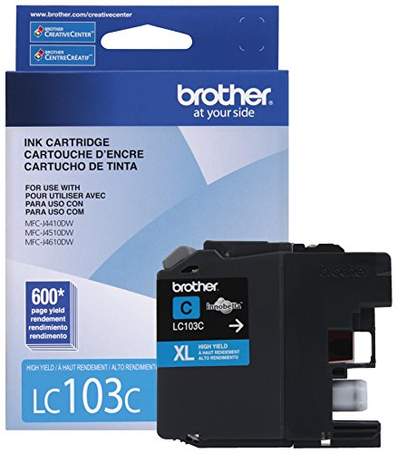 Brother Printer LC103C High Yield Cartridge Ink, (Cyan Brother Ink)