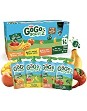 GoGo squeeZ Unsweetened Applesauce Pouches, Variety Pack (Apple/Apple Peach/Apple Mango/Apple Banana Flavours), No Sugar Added - 1,440 Grams (16 Pouches of 90 Grams)