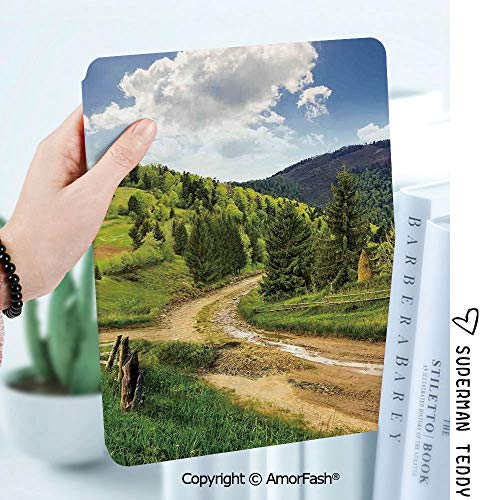 Ultra Lightweight Standing Cover for Galaxy Tab A 8.0 Inch SM-T380/T385 2017,Landscape Hillside Meadow Cloudy Sky Fence Near The Cross Road with Fir Trees on Both Sides