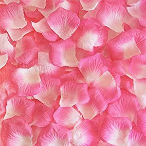 Vlonfine 1500pc Artificial Flower Rose Petals Wedding Flowers Favors (Light Pink Plus Ivory White) 99