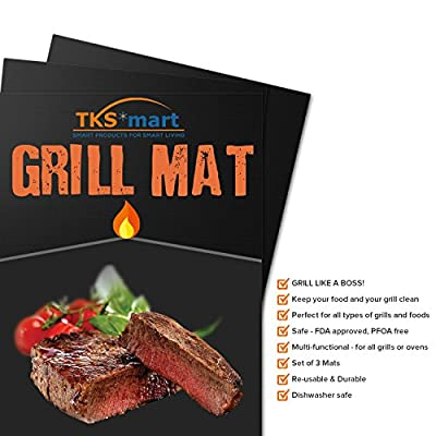 "Grill Mats BBQ Accessories - For Outdoor Indoor Oven Baking & Charcoal Propane Smoker Gas Grills | Large 15.75 x 13"" Heavy Duty Non Stick Reusable Heat Resistant Barbecue Mat 