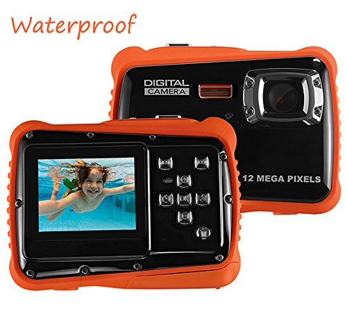 Waterproof Digital Camera for Kids, LINNNZI 12MP HD Underwater Action Camera Camcorder with 2.0 Inch LCD Display, 4x Digital Zoom Flash and Mic (Orange)