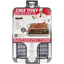 Chef Tony Healthy Cooking Baking Bacon Pan, Black
