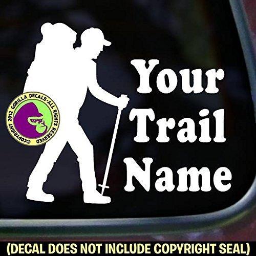 CUSTOM TRAIL NAME HIKER Hiking Vinyl Decal Sticker F