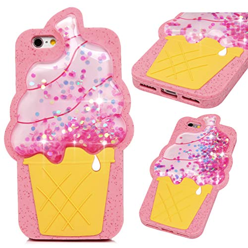 iPhone 6S Case, iPhone 6 Case(Not Plus), Pink Ice Cream Liquid Sparkle Glitter Diamond TPU Shell Bling Design for Girl Woman Gifts Quicksand Cute Star Flowing Cover for iPhone 6/6S