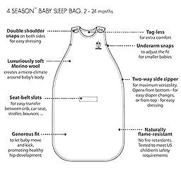 Woolino Baby Sleeping Sack - 4 Season - Merino Wool - 2 Month - 2 Year - Earth