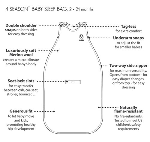 Woolino Toddler Sleeping Bag, 4 Season Merino Wool Baby Sleep Bag or Sack, 2-4 Years, Earth by Woolino (Image #4)