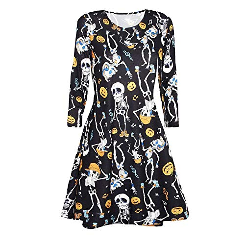 Halloween Dress Hot Sale! DEATU Women Printing Casual Long Sleeve Ladies Halloween Evening Party Prom Dress(Black 1,S)