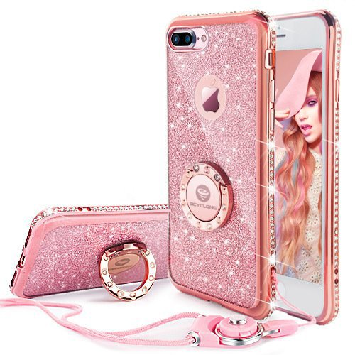 iPhone 7 Plus Case, iPhone 8 Plus Case, Glitter Cute Phone Case Girls with Stand, Bling Diamond Bumper with Ring Kickstand Clear Thin Soft Pink iPhone 7 Plus/ 8 Plus Case for Girl Women - Rose Gold