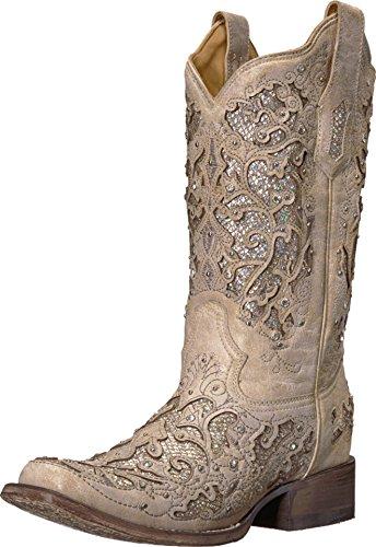 Corral Boots Women's A3397 White/White Glitter 8.5 B US -