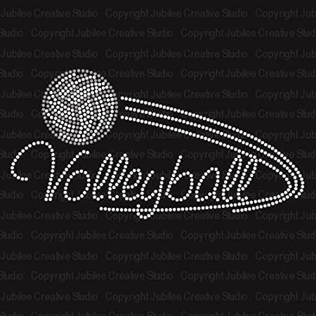 Iron on Volleyball style Heart rhinestone transfer 2 color