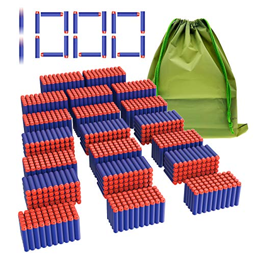 Coodoo Compatible Darts 1000 PCS Refill Pack Bullets for Nerf N-Strike Elite Series Blasters Toy Gun - Blue with Storage Bag ()