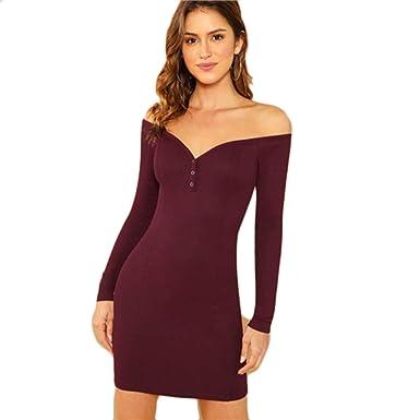 8b8b070578ed Amazon.com  XUVR Women s Burgundy Form Fitting Dress Buttoned Off Shoulder  Bodycon Slim Dress  Clothing