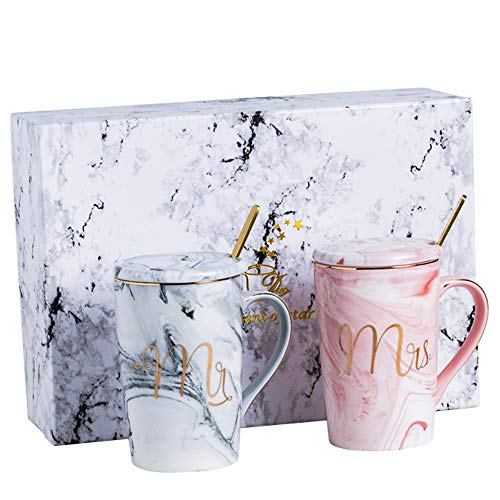 14 oz Marble Ceramic Coffee Mug Couples Mr and Mrs Coffee Mugs Unique Wedding Gift With Spoon Set Gift Packing (Ceramic Couple)