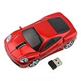Usbkingdom 2.4GHz Sport Car Shape Optical Wireless Car Mouse with USB Receiver for PC Laptop Computer 1600 DPI 3 Buttons Red