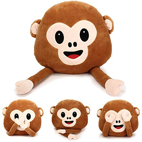 35cm Creative Emoji Monkey With Hands Throw Pillow Plush Stuffed Cushion Office Home Sofa Decor BephaMart