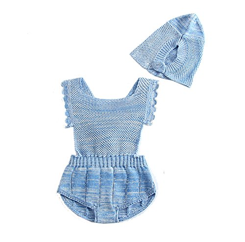Knit Girls Overalls (Infant Baby Girl Romper Knit Backless Acrylic Overalls Jumpsuit Outfits+caps set Blue 120)