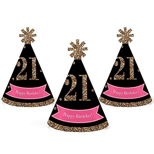21st Birthday Hats (Finally 21 Girl - Mini Cone 21st Birthday Party Hats - Small Little Party Hats - Set of)