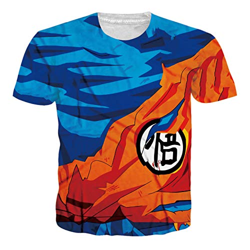 Ocsoc Japanese Anime Dragon Ball Z Goku Symbol Costumes Sport T-Shirt Tee for Anime-Lover, Blue and Orange ()