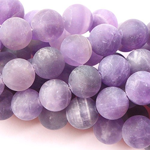 (Natural Color Unpolished Matte Amethyst Round Gemstone Jewelry Making Loose Beads (8mm))