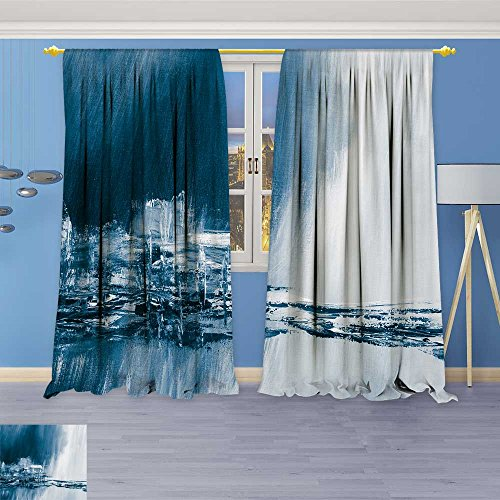 (SOCOMIMI Rustic Home Decor Curtains,Blue Painted Background Wallpaper Texture,Living Room Bedroom Window Drapes 2 Panel Set, 96W x 96L inch)