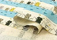 猫柄 生地 綿麻 キャンバス 布【水色】釣りにゃんこ猫 ねこ ネコ コットンリネンのプリント 布地 手芸【1m単位】の商品画像