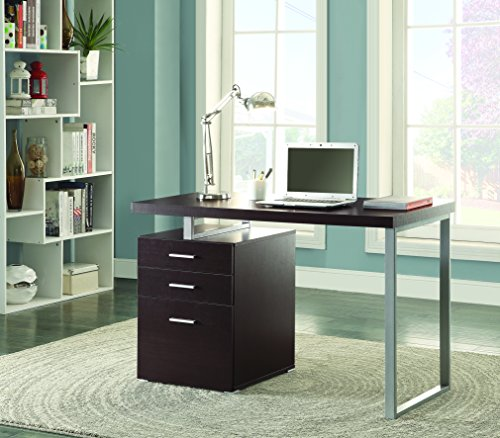 coaster home furnishings modern contemporary reversible office desk with file cabinet - cappuccino
