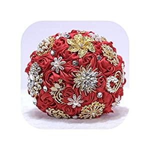Wedding Bouquet Silk Rose Crystal Wedding Flowers Brooch Beaded Buque Bridal Bouquets,Color As Picture3 88